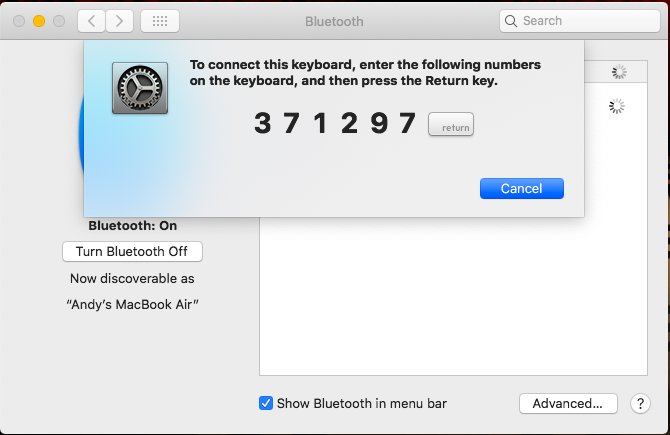 bluetooth klavye mac çifti